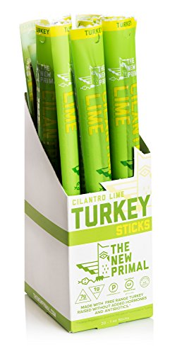 The New Primal Cilantro Lime Meat Stick, Paleo, Gluten & Soy Free, 100% Free-Range, Keto, No Added Sugar, 1oz, 20 Count