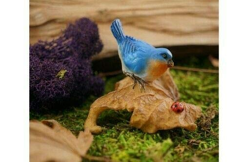 ShopForAllYou Figurines and Statues Miniature Dollhouse Fairy Garden - Bluebird On Leaf with Ladybug - ()