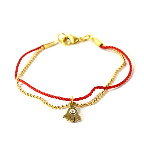 Bracelet Red Gold Hamsa String (MIZZE Made for Luck 7