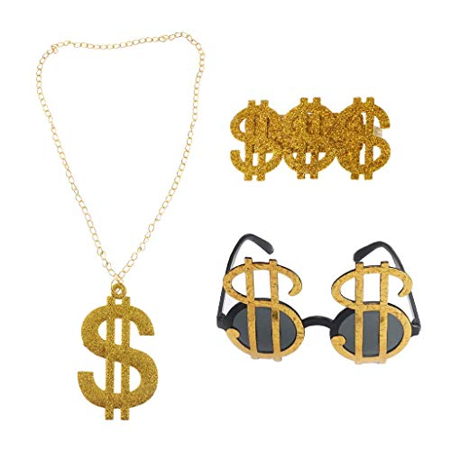 3pcs Golden Dollar Sign Money Pendant Necklace Glasses Ring Men's Funny Pimp Gangster Rapper Fancy Costume Prop -