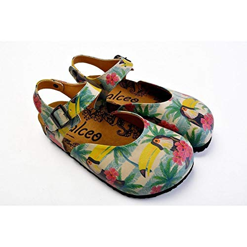 Goby Pink, Blue, Beige Color and Pink Flowers, Yellow Toucan Patterned Clogs - CAL1608