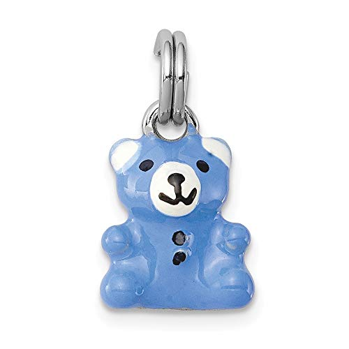 Jewelry Pendants & Charms Themed Charms Sterling Silver Rhodium-platedBlue and Enamel Teddy Bear Charm