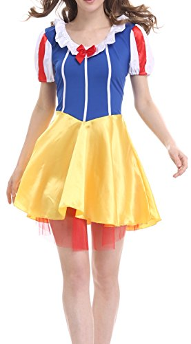 Blidece Women Snow White Adult Costume Princess Costume Dress Hair Hoop Halloween Cosplay - Blue/Yellow L