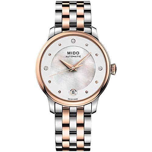 Mido Women's Baroncelli Diamond 29.9mm Two Tone Steel Bracelet Automatic MOP Dial Watch M039.207.22.106.00
