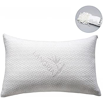 LANGRIA Luxury Bamboo Shredded Memory Foam Pillow with Zip Cover and Adjustable Viscoelastic Foam Filling Breathable Anti-Sweat Hypoallergenic and Odor-Free Machine Washable (Standard/Queen, 1 Piece)