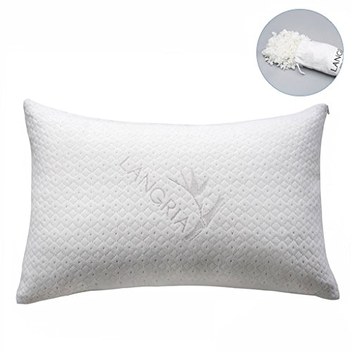 LANGRIA Luxury Bamboo Shredded Memory Foam Pillow with Zip Cover and Adjustable...