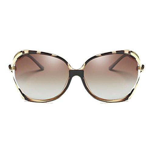 Las Cara HLMMM Leopardo UVB400 de Gafas Femenina Color del polarizada Gafas Resina de de Huecas Redonda UVA luz de Conducción Las Drive la de Diamante Caja de Sol Moolo de Leopardo Sol Tdx67A7