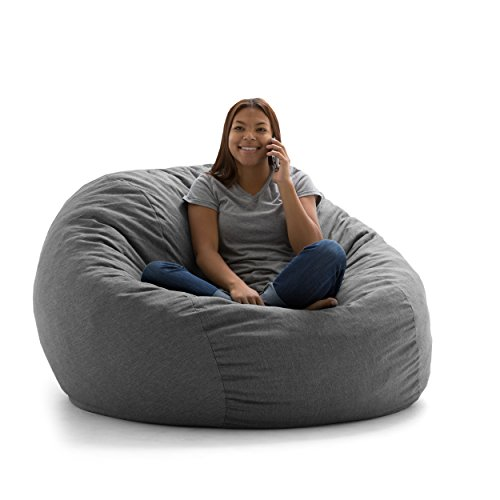 Big Joe Lux Large Fuf Foam Filled Bean Bag Chair, Union, Gray