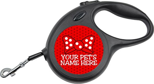 - Cute Minnie Bow Retractable Leash Personalized for Your Pet (Small, Red Bow)
