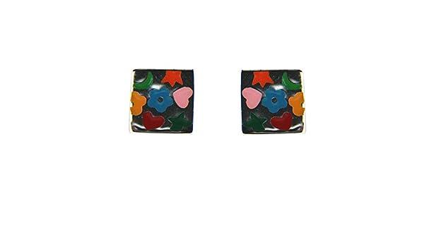 Amazon.com: Agatha Ruiz de la Prada Sterling Silver multi color enamel post earrings.: Stud Earrings: Jewelry