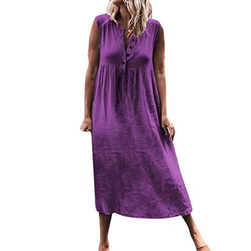 HYIRI Women's Solid Casualcocktail Aline Blutton Sleeveless Beach Maxi Dresses Plue Size Purple ()