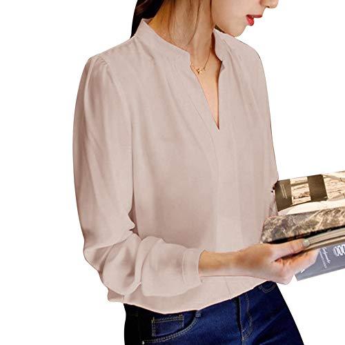 T Blouse Chemise Printenps Chiffon Automne Manches Femme Top Unie V Cou Mode Dihope en Shirt Haut Longues Chemisier Beige Casual Couleur pq4B6wn7