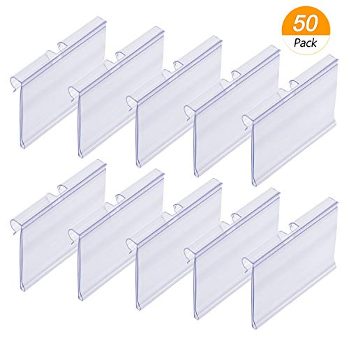 Meetory 50 PCS Clear Plastic Label Holders for Wire Shelf Retail Price Label Merchandise Sign Display Holder(6cm x 4cm)
