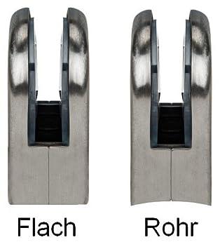GLASHALTER aus Edelstahl 45x55mm in 2 Klemmst/ärken und 2 Anschl/üssen 8-8,76mm Glasst/ärke, Anschluss: Flach