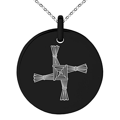 Black Stainless Steel Celtic Saint Brigid Cross Symbol Engraved Small Medallion Circle Charm Pendant Necklace