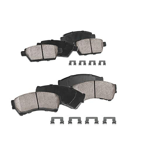 FRONT + REAR Performance Grade Quiet Low Dust [8] Ceramic Brake Pads + Dual Layer Rubber Shims + Hardware