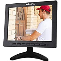KKmoon 8 Inch TFT LCD Color Video Monitor Screen VGA BNC AV Input with Remote Controller for PC CCTV Home Security -Stand & Rotating Screen
