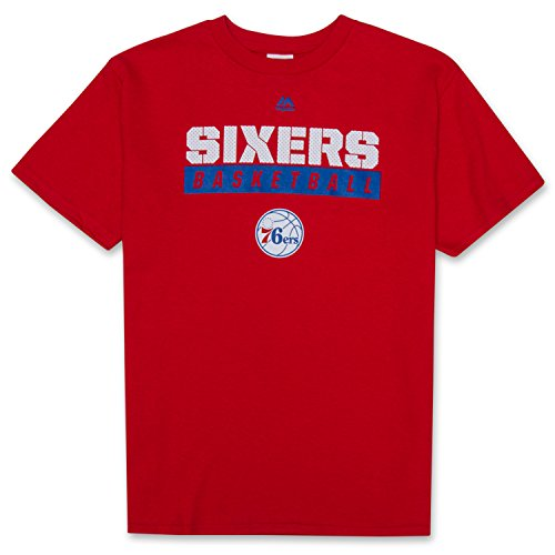 Sports Teams T-shirts (NBA Boys Crewneck Short Sleeve Athletic Sports Pre-Game T-Shirt With Team Logo Philadelphia 76ers Red Large)