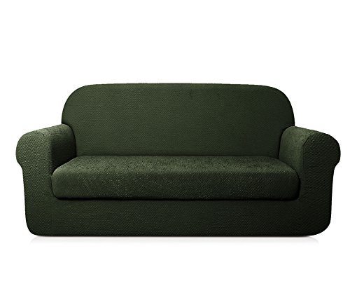 2 Piece Sectional With Chaise - TOYABR 2-PieceSeersucker JacquardStretchyFabricDinning Room SofaSlipcoversFittedSofaProtector (Sofa, Army Green)