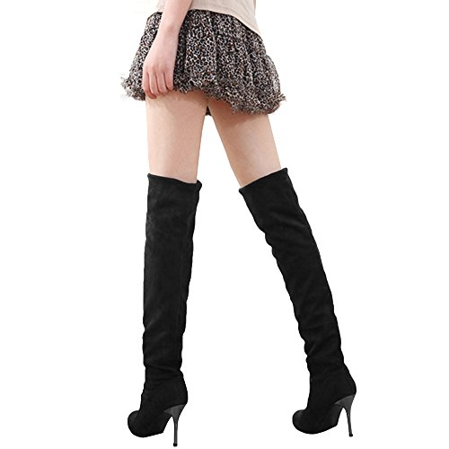 eshion Women Autumn Winter Faux Suede Casual Over the Knee Stretchy High Heel Boots Black lwbxSFiV