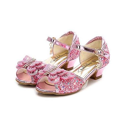 YANJK Girls High Heel Shoes Butterfly Knot Flower Baby Girl Shoes Low Heel Dance Shoes(Pink,4) ()