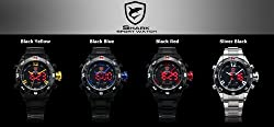 SHARK Men's LED Date Day Digital Silver Stainless Steel Sport Quartz Wrist Watch SH102