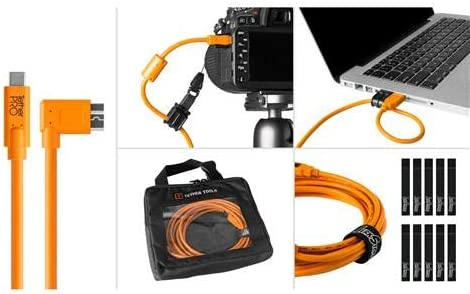 Tether Tools Starter Tethering Kit with 15 USB-C to 3.0 Micro-B Right Angle Cable Orange