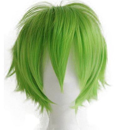 [2-5 Days Delivery Unisex Japanese Anime Cosplay Wigs green Synthetic ShortFull Party Costume Wig Layered with Bangs and Cap Halloween Wigs for Women Men Girl Boy Teens (green)] (Top Men Costumes)