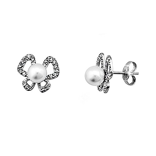 Boucled'oreille 18k blanc perle d'or 5.5mm. zircons papillon [AA5362]