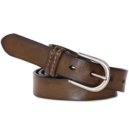 (PAZARO Women's Leather Belt 100% Full Grain Leather Apparel Belt Tan Color)