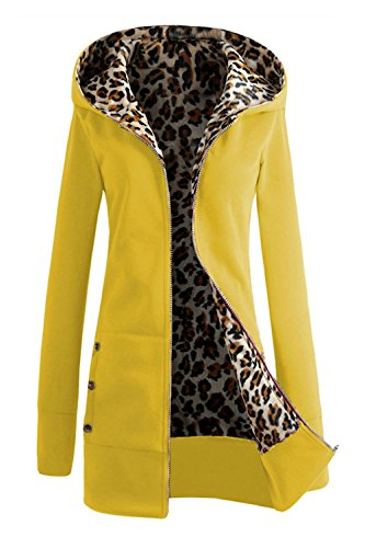 Las Sudaderas Con Cremallera Capucha Leopardo Largo Abrigos Encapuchado Parkas Invierno Más Grueso Cálido Chaquetas Coat Outcoat Woman Tallas Grandes Manga Larga Elegante Casual Color Sólido Amarillo