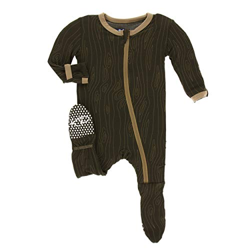 5 Year Wood - Kickee Pants Little Boys Print Footie with Zipper - Petrified Wood, 5 Years