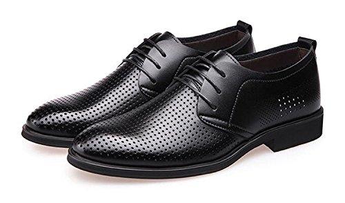 Missfiona Mens Été Respirant Lacets Derby En Cuir Robe Chaussures Bussiness Chaussures Noir