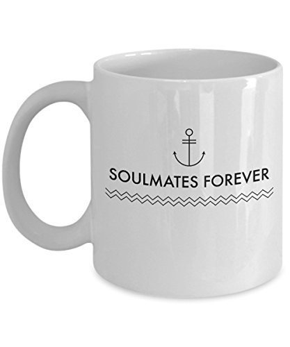 Love Gift, Soulmates Forever, Husband, Wife, Coffee Mug, Ceramic (Dolphins Mate Soul)