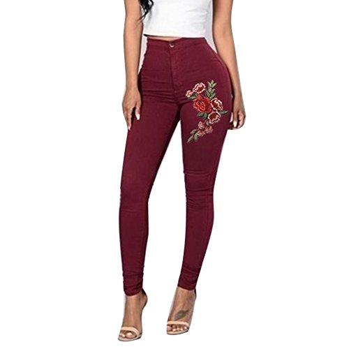 hibote Crayon Denim Jeans Sexy Straight Jeans Pantalon 3XL Denim S Pantalons Skinny Jeggings Stretch Femme Rouge Femmes Pantalon Broderie Taille Casual Haute pvUwvqO