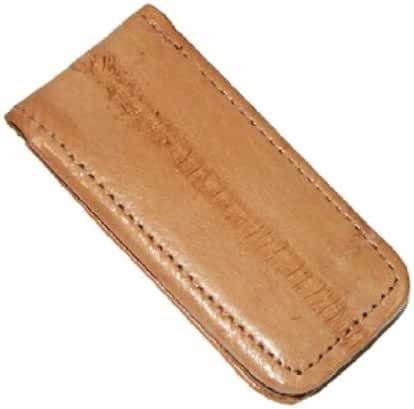 Large Size Eel Skin Magnetic Money Clip (Tan)