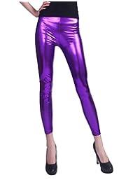 HDE Womens Shiny Leggings Metallic Clubwear Stretch Liquid Wet Look Skinny Pants
