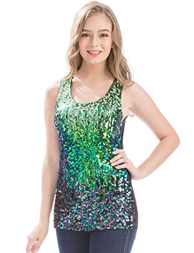 MANER Womens Sparkle Gradient Sequin Embellished Tank Top Sleeveless Round Neck (Mint Green/Bule Green/Multicolored Black, XS)