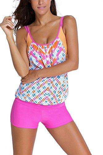 Dokotoo Womens Stripes Lined Up Double Up Tankini Top Bikini Swimwear,(US 2-4)S,Rose ()