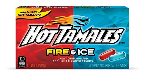 Hot Tamales Fire & Ice Chewy Cinnamon And Cool Mint Flavored Candies 5Oz X 2 Pack
