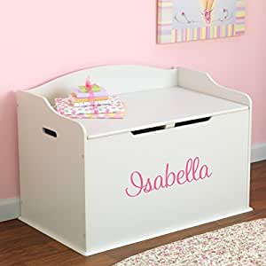 Personalized Modern Touch Toy Box For Girls - White with Custom Font Choices