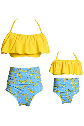 c12015bc6 WIWIQS Tankini Swimsuits for Mommy and Me High Waisted Retro Swimsuit Two  Piece
