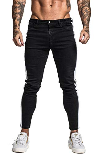 GINGTTO Casual Jeans for Men Slim Fit Black Plain Skinny Jeans Men 28 ()