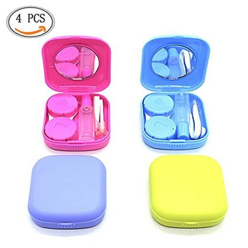 WEFOO Set of 4 Mini Travel Contact Lens Case Kit Holder Mirror Box, Blue, Purple, Green, Rose Red
