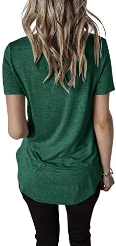 Topstype Women's Short Sleeve T Shirt V Neck Tunic Criss Cross Tops Casual Tees Loose Sweatshirts