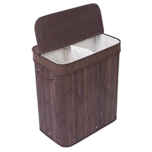 BirdRock Home Double Laundry Hamper With Lid And Cloth Liner | Bamboo |  Espresso | Easily Transport Laundry Basket | 2 Section Collapsible Hamper |  String ...