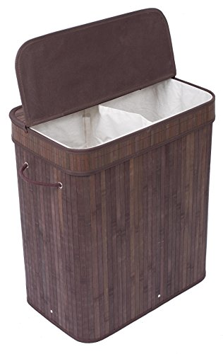 BirdRock Double Hamper with Lid and Cloth Liner | Bamboo | Espresso | Easily Transport Laundry Basket | 2 Section Collapsible Hamper