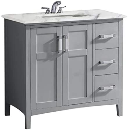 Simpli Home Winston 36 inch Contemporary Bath Vanity in Warm Grey with Bombay White Engineered Quartz Marble Extra Thick Top
