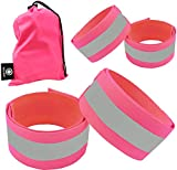 Reflective Bands for Wrist, Arm, Ankle, Leg. High Visibility Reflective Running Gear for Men and Women for Night Running Cycling Walking Bicycle. Safety Reflector Tape Straps. (Pink - 4 Bands)