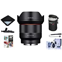 Rokinon 14mm F2.8 AF Wide Angle, Full Frame Auto Focus Lens for Sony E Mount - Bundle With Lens Case, Cleaning Kit, Lens Wrap, Lenspen Lens Cleaner, Capleash II, Pc Software Package